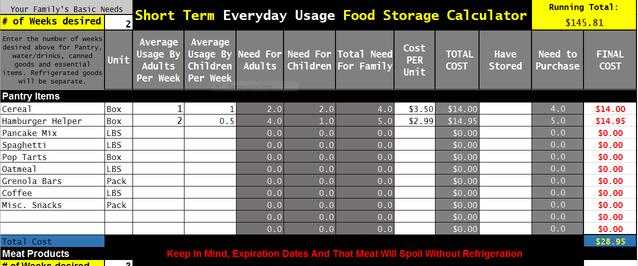 Short Term Food Storage Free Calculator Download