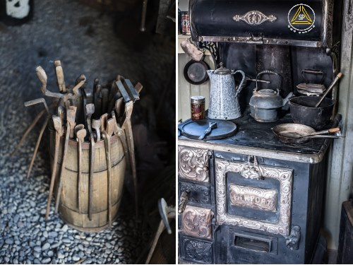 old west tools and stove
