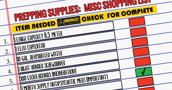 Prepping Supplies Beginning Preppers 30 Day Shopping List