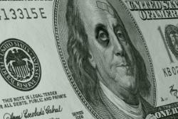 Economic collapse dollar bill
